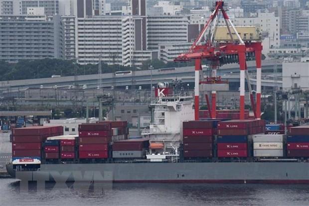 Tàu chở hàng hóa neo tại cảng ở Tokyo, Nhật Bản. (Ảnh: AFP/TTXVN)