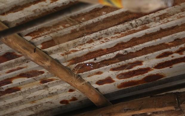 Tấm tôn bị hoen gỉ dưới tác động của thời tiết, khói bếp hoặc phân gia súc gia cầm. Ảnh: CTV