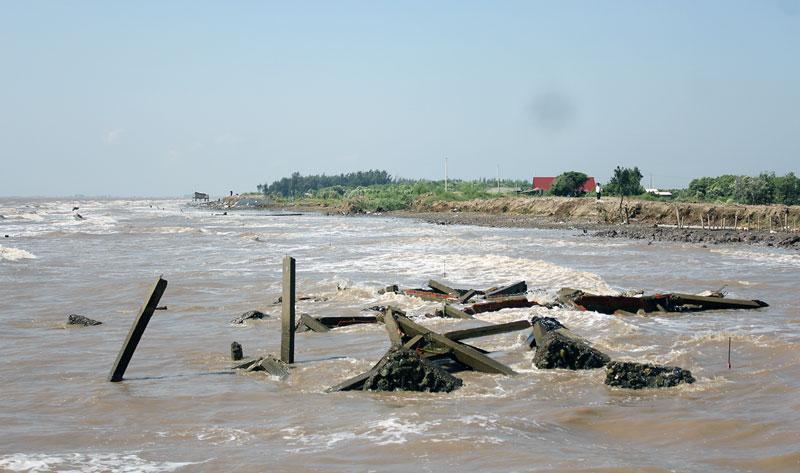 Sạt lở ở khu vực cồn Ngoài (xã Bảo Thuận, huyện Ba Tri). Ảnh: H.Trung