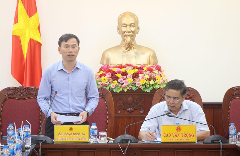 Cục trưởng Cục Kiểm tra VBQPPL Đồng Ngọc Ba phát biểu chỉ đạo. Ảnh: Trí Đức