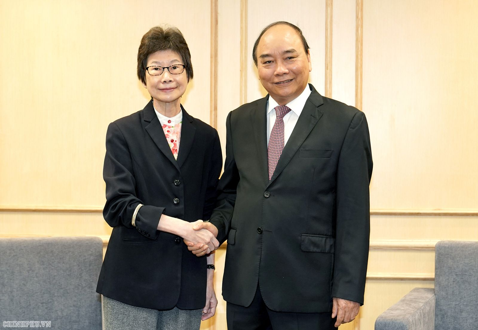 Thủ tướng tiếp bà Lee Ju Song - Giám đốc Khu vực Châu Á – Phòng Thương mại Quốc tế và Liên đoàn các Phòng Thương mại Thế giới (ICC). Ảnh: VGP/Quang Hiếu
