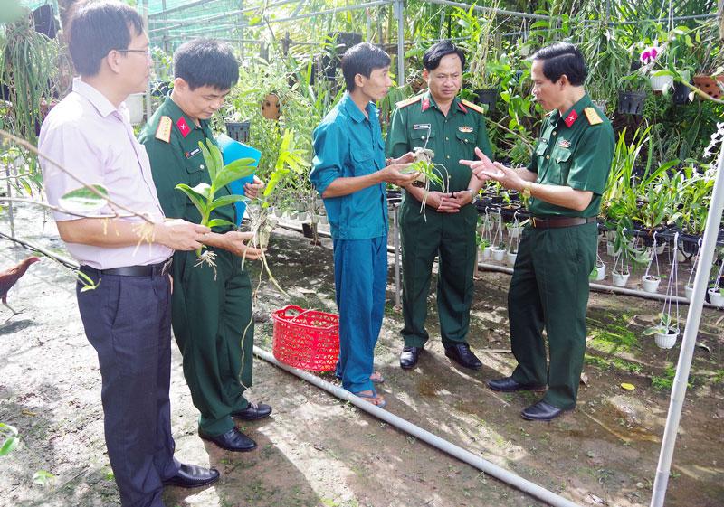 Đại biểu các đơn vị huyện, thành phố và Quân khu 9 tham quan mô hình trồng lan của anh Nguyễn Tường Lộc tại xã Phú Phụng, huyện Chợ Lách.