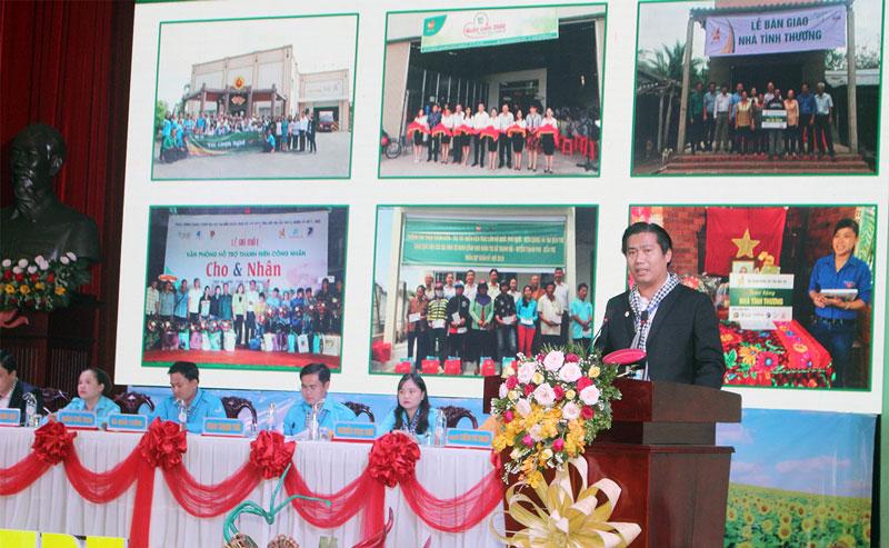 Anh Cao Minh Tuấn phát biểu trước Đại hội Hội LHTN Việt Nam tỉnh vừa qua.