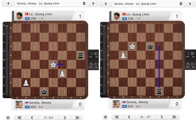 Quang Liêm tấn công bằng Vua (đen) khiến đối thủ không kịp trở tay