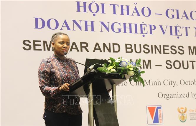 Bà Valentine Naidoo, Đại diện Bộ Công Thương Nam Phi phát biểu tại hội thảo. Ảnh: Xuân Anh/TTXVN