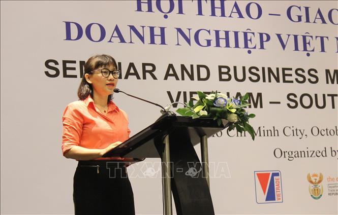 Bà Bùi Thị Thanh An, Phó Cục trưởng Cục Xúc tiến thương mại, Bộ Công Thương phát biểu khai mạc hội thảo.