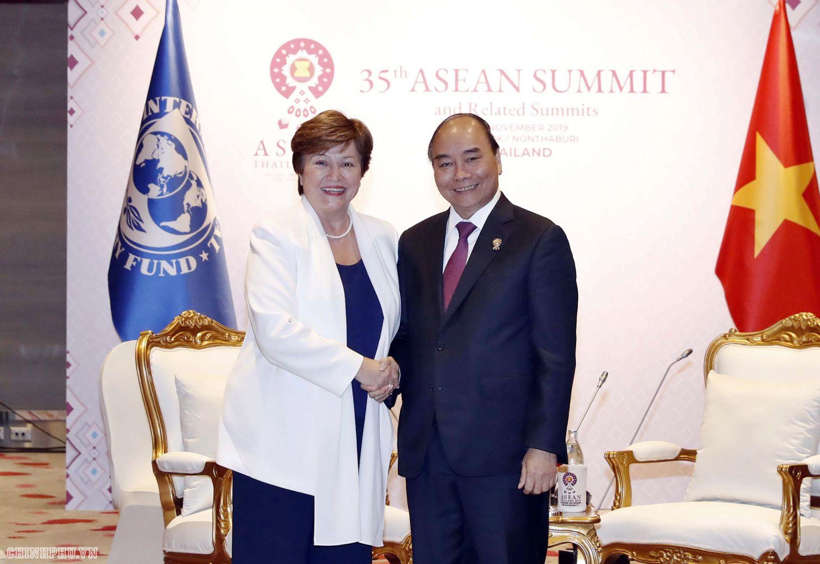 Thủ tướng gặp Tổng Giám đốc IMF. Ảnh: VGP