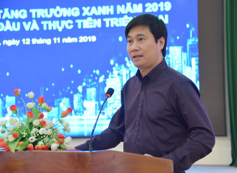 Ông Nguyễn Tường Văn - Cục trưởng Cục Phát triển đô thị, Bộ Xây dựng phát biểu tại hội thảo.
