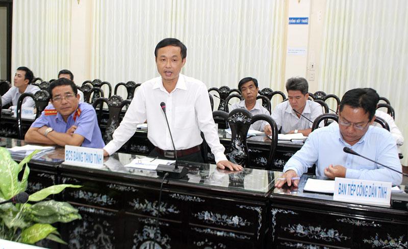 Chánh án Tòa án nhân dân tỉnh Nguyễn Biên Thùy phát biểu tại hội nghị sơ kết công tác nội chính, PCTN và cải cách tư pháp 9 tháng năm 2019. Ảnh: Đức Chính