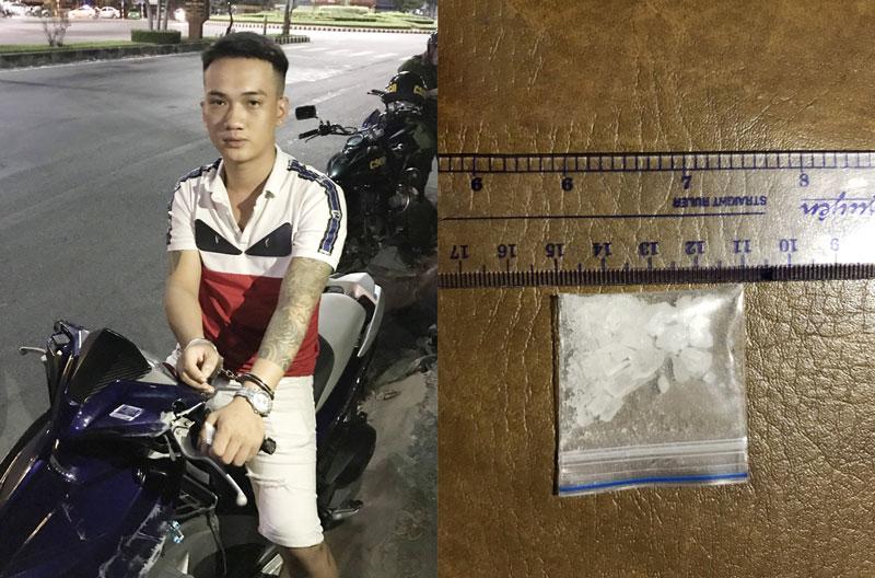 Đối tượng Dương Nguyễn Phước Anh và tang vật.