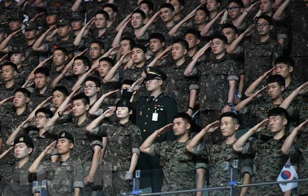 Binh sĩ Hàn Quốc tại sự kiện ở Seoul. Ảnh: AFP/TTXVN