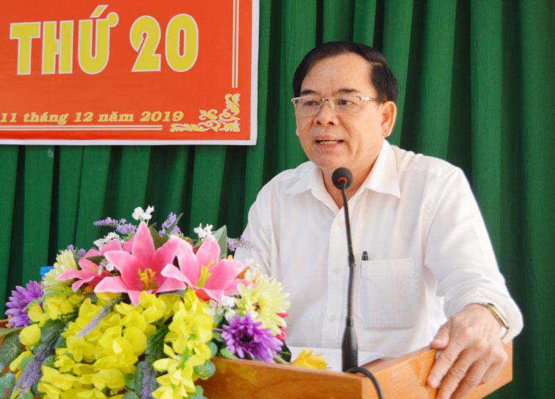 Phó bí thư Thường trực Tỉnh ủy Trần Ngọc Tam phát biểu tại hội nghị.