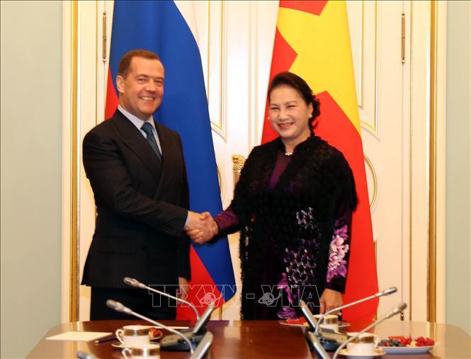 Chủ tịch Quốc hội Nguyễn Thị Kim Ngân hội kiến Thủ tướng Nga Dmitry A. Medvedev. Ảnh: Trọng Đức/TTXVN