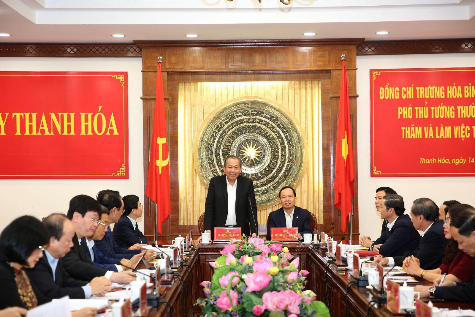 Phó Thủ tướng Trương Hòa Bình phát biểu tại buổi làm việc. Ảnh: VGP/Lê Sơn