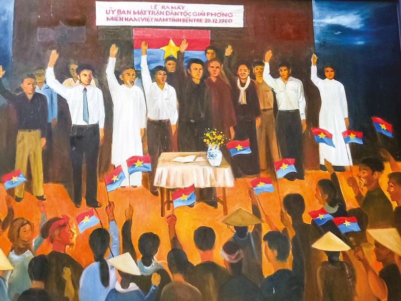 Tranh tái hiện cảnh Lễ ra mắt Ủy ban Mặt trận Dân tộc giải phóng miền Nam Việt Nam tỉnh 28-12-1960. (Ảnh PV chụp lại tại Nhà truyền thống Ðồng Khởi)