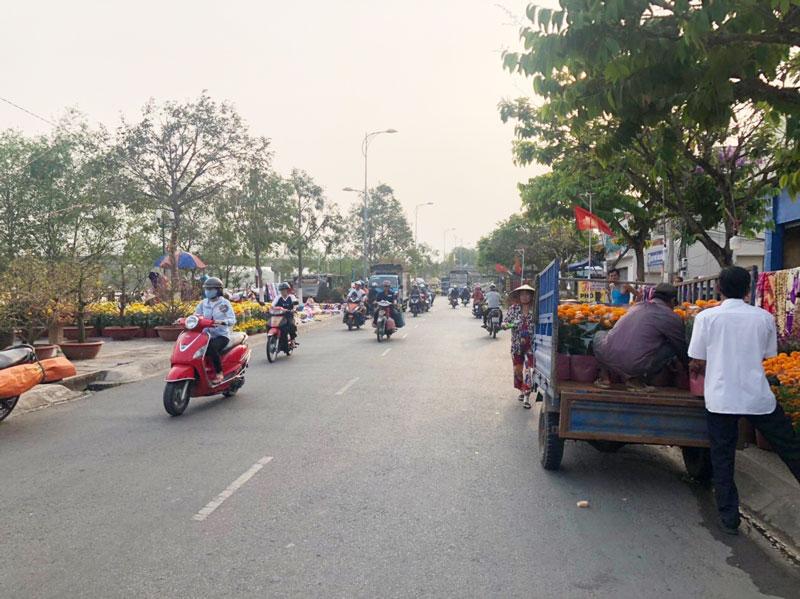 Chợ hoa xuân trên đường Hùng Vương.