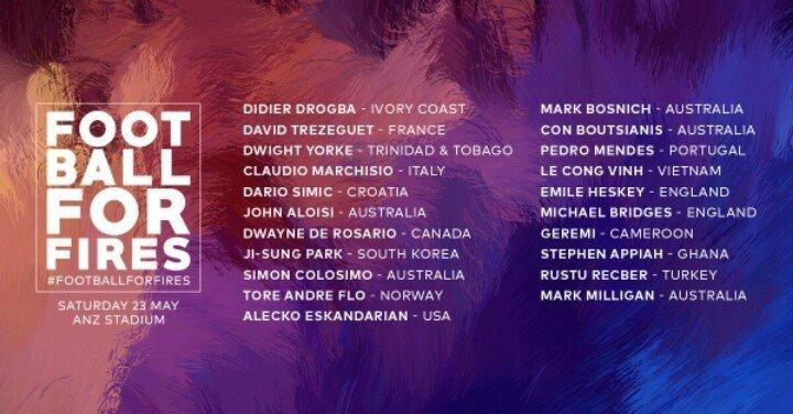 Danh sách các danh thủ nhận lời mời tham dự trận đấu từ thiện từ LĐBĐ Australia.