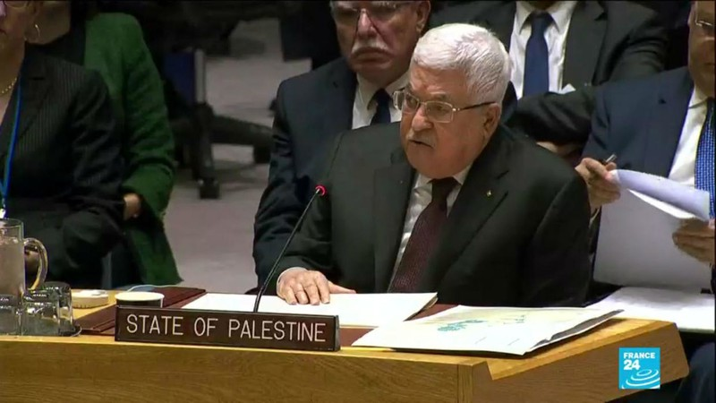 """Tổng thống Abbas khẳng định kế hoạch """"Tầm nhìn"""" của Mỹ vi phạm luật pháp quốc tế, chủ quyền và quyền dân tộc tự quyết của người dân Palestine. Ảnh: France 24"""