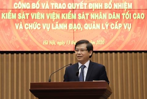 Viện trưởng Viện Kiểm sát nhân dân tối cao Lê Minh Trí phát biểu tại buổi lễ.