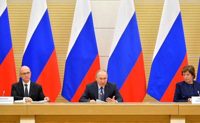 Tổng thống Nga Vladimir Putin tại cuộc họp với nhóm công tác về sửa đổi Hiến pháp Liên bang Nga.
