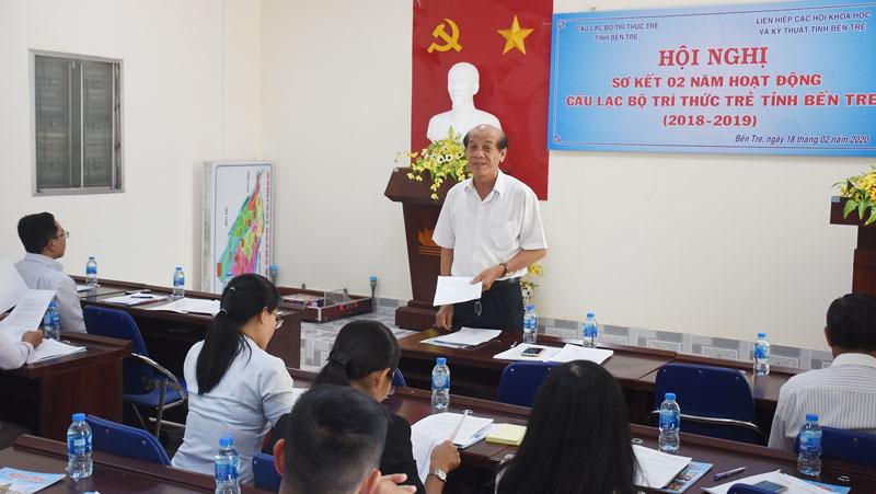 Ông Nguyễn Quốc Bảo đóng góp nhiều ý kiến cho hoạt động Câu lạc bộ tại hội nghị.