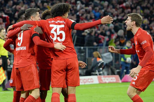 Niềm vui của các cầu thủ Bayern sau khi giành chiến thắng
