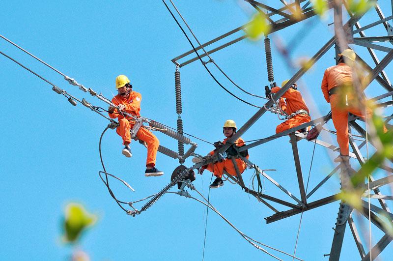 Nâng cấp, sửa chữa đường dây điện. Ảnh: Nguyễn Hải