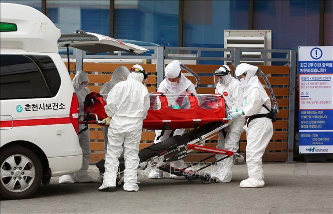 Nhân viên y tế chuyển bệnh nhân nhiễm COVID-19 tại một bệnh viện ở Chuncheon, Hàn Quốc ngày 22-2-2020. Ảnh: AFP/TTXVN