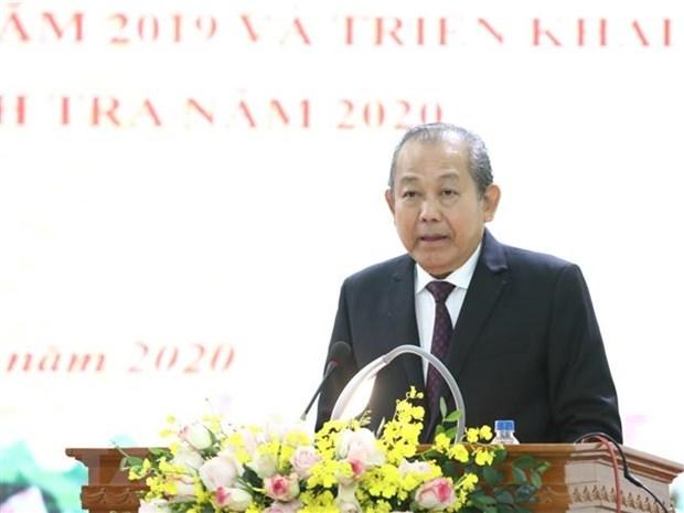 Phó Thủ tướng Thường trực Trương Hòa Bình phát biểu chỉ đạo Hội nghị. (Ảnh: Văn Điệp/TTXVN)
