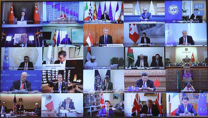 Các đại biểu tham dự hội nghị Ảnh: Thống Nhất/TTXVN (ảnh chụp qua màn hình)