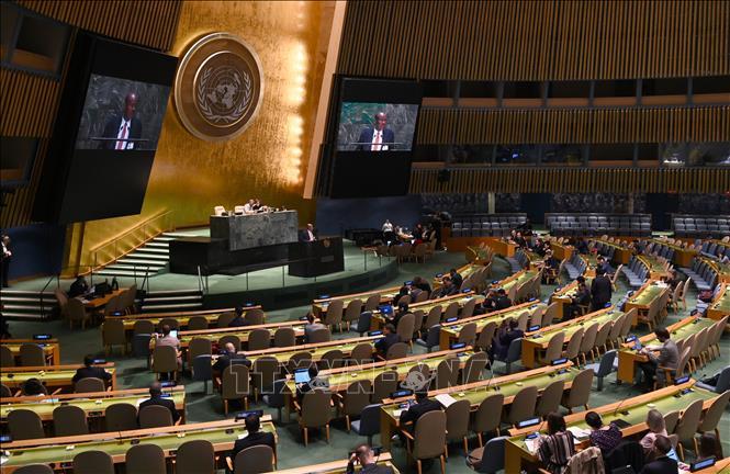 Một phiên họp của ĐHĐ LHQ ở New York, Mỹ. Ảnh: AFP/TTXVN