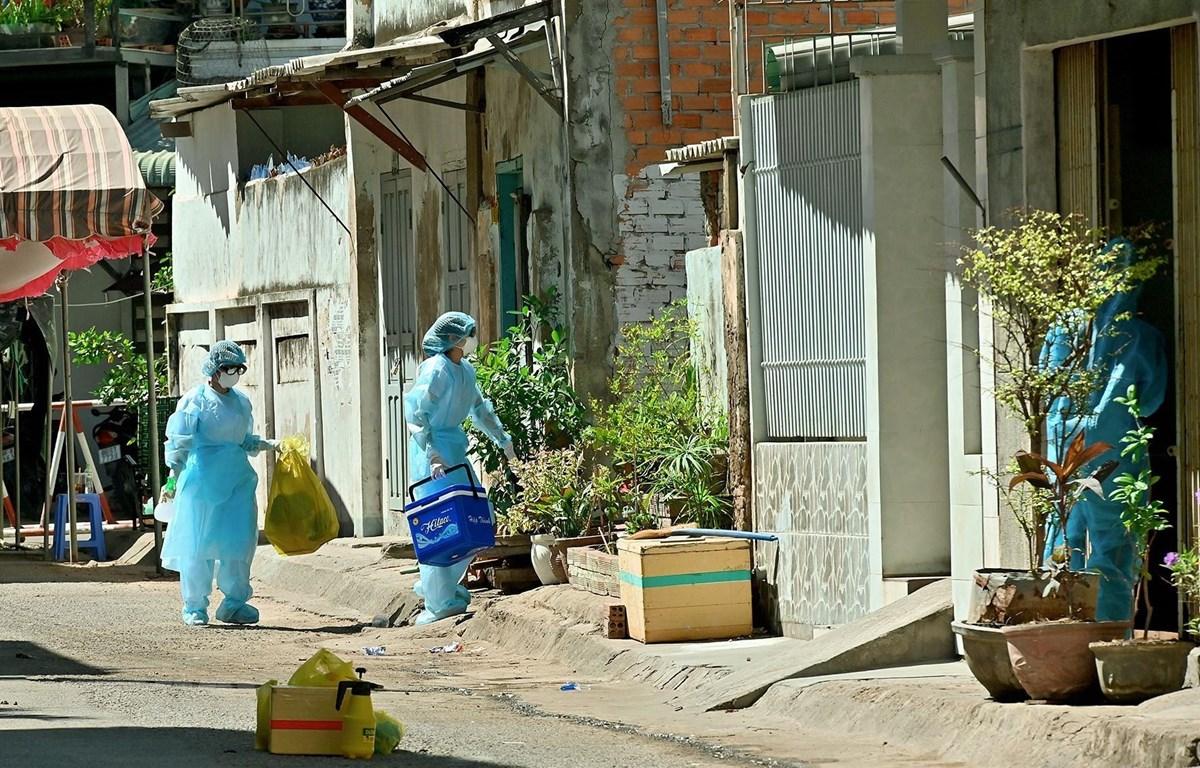 Các mẫu xét nghiệm được để riêng từng túi và khử khuẩn bên ngoài trước khi đưa đi xét nghiệm. Ảnh: Nguyễn Thanh/TTXVN