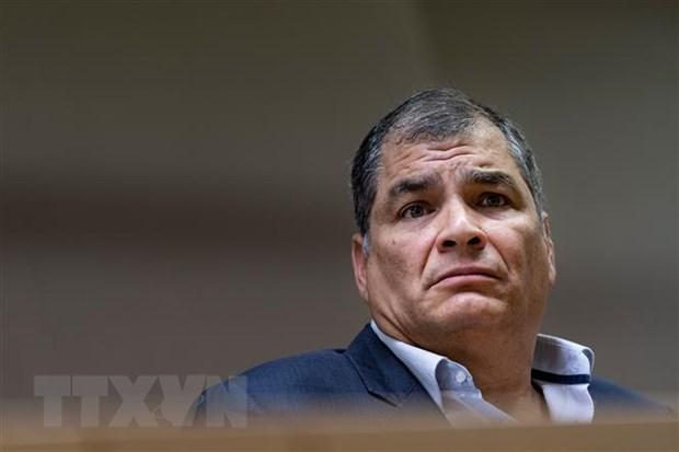 Cựu Tổng thống Ecuador Rafael Correa tại cuộc họp báo ở Brussels, Bỉ ngày 9-10-2019. (Ảnh: AFP/TTXVN)