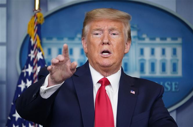 Tổng thống Mỹ Donald Trump phát biểu tại cuộc họp báo ở Washington, DC ngày 8-4-2020. Ảnh: AFP/TTXVN