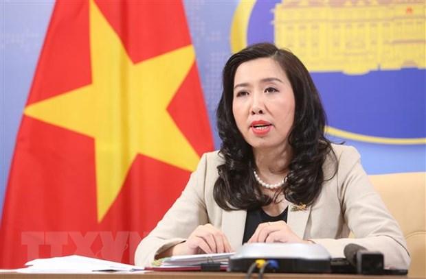 Người Phát ngôn Bộ Ngoại giao Việt Nam Lê Thị Thu Hằng chủ trì họp báo. Ảnh: Dương Giang/TTXVN