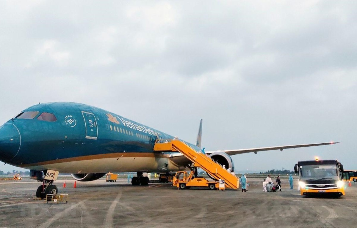 Máy bay Airbus 350 mang số hiệu VN62 của Hãng hàng không Vietnam Airlines đưa 345 người Việt từ Liên bang Nga về Việt Nam. Ảnh: TTXVN