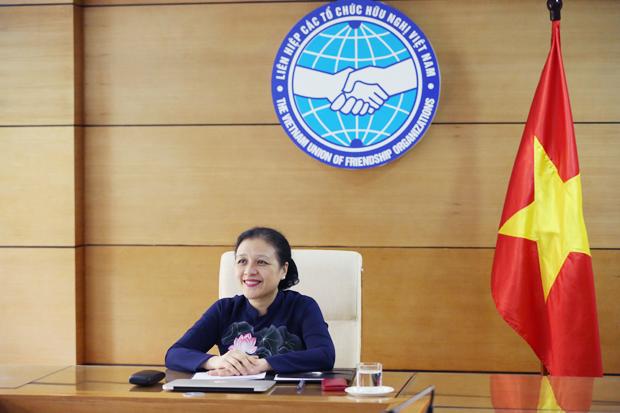 Chủ tịch Liên hiệp các tổ chức hữu nghị Việt Nam Nguyễn Phương Nga tại Hội nghị trực tuyến lãnh đạo các tổ chức hữu nghị nhân dân ASEAN-Trung Quốc. (Ảnh: Liên hiệp các tổ chức hữu nghị Việt Nam)