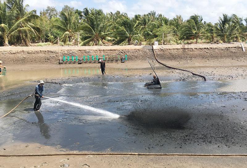 Xử lý đáy ao nuôi tôm ở huyện Bình Đại. Ảnh: Hoàng Mai