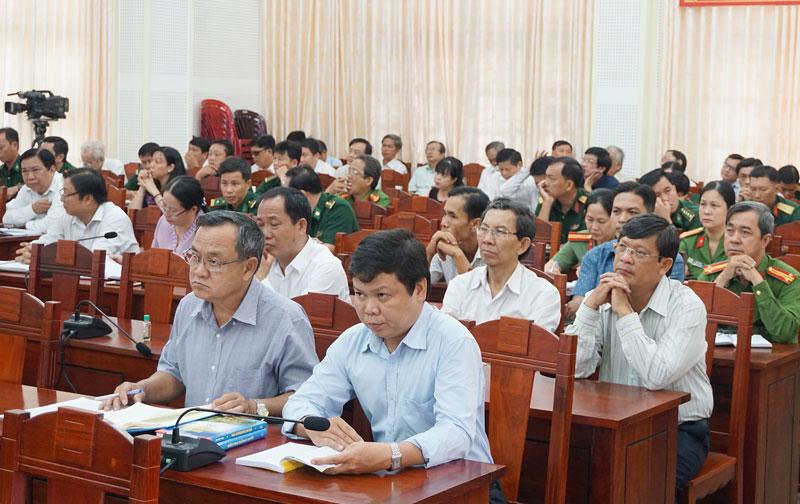 Các đại biểu tham dự hội nghị tại điểm cầu tỉnh.