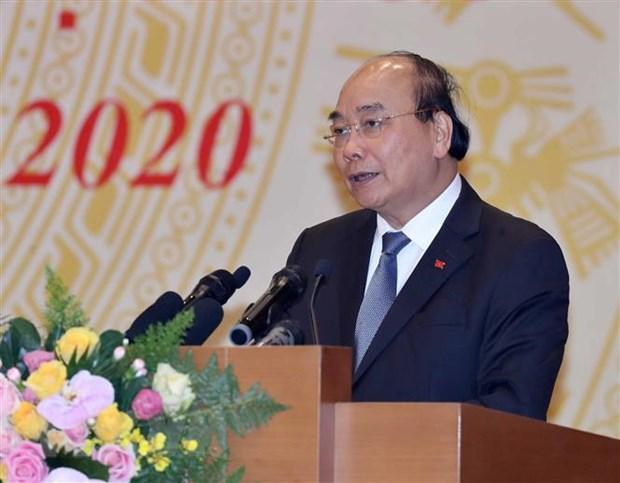 Thủ tướng Nguyễn Xuân Phúc, Chủ tịch Ủy ban quốc gia về Chính phủ điện tử. (Ảnh: Thống Nhất/TTXVN)