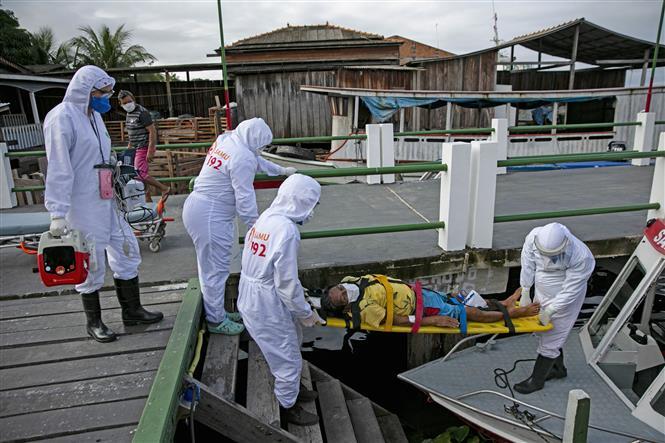 Nhân viên y tế chuyển bệnh nhân nhiễm COVID-19 tới bệnh viện ở Breves, trên đảo Marajo, Brazil. Ảnh: AFP/TTXVN