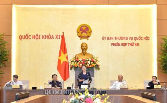 Chủ tịch Quốc hội Nguyễn Thị Kim Ngân phát biểu tại Phiên họp thứ 45 (đợt 1) của Uỷ ban Thường vụ Quốc hội