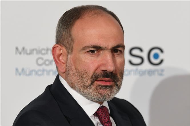 Thủ tướng Armenia Nikol Pashinyan dự một hội nghị tại Munich, Đức ngày 15-2-2020. Ảnh: AFP/ TTXVN