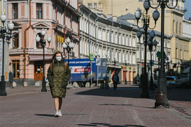 Đường phố thủ đô Moskva, Nga vào thời điểm dịch COVID-19 hoành hành, ngày 7-4-2020. Ảnh: THX/TTXVN