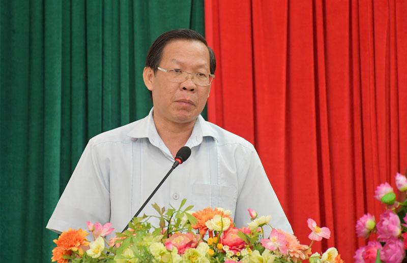 Bí thư Tỉnh ủy Phan Văn Mãi phát biểu tại hội nghị. Ảnh: Hữu Hiệp