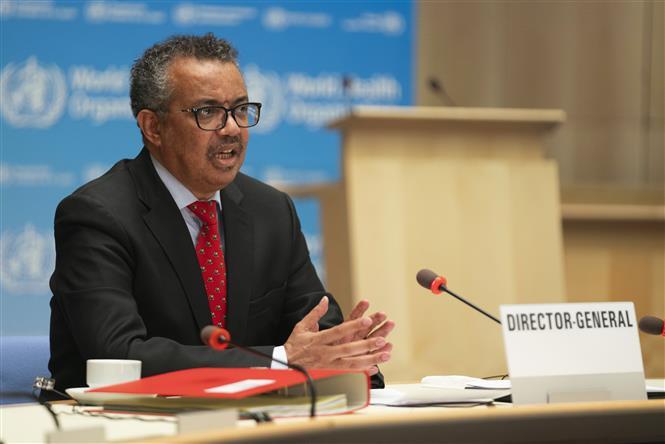 Tổng Giám đốc Tổ chức Y tế Thế giới (WHO) Tedros Adhanom Ghebreyesus phát biểu tại Geneva, Thụy Sĩ. Ảnh: AFP/TTXVN