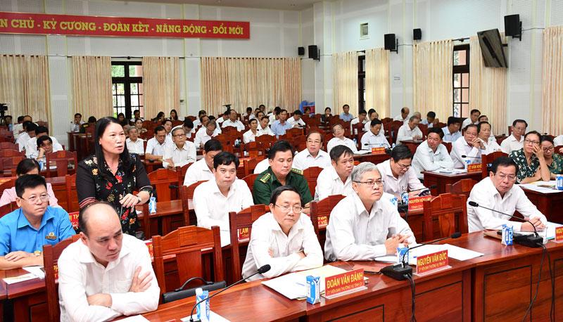 Giám đốc Sở Lao động - Thương binh và Xã hội Nguyễn Thị Bé Mười góp ý thảo luận.