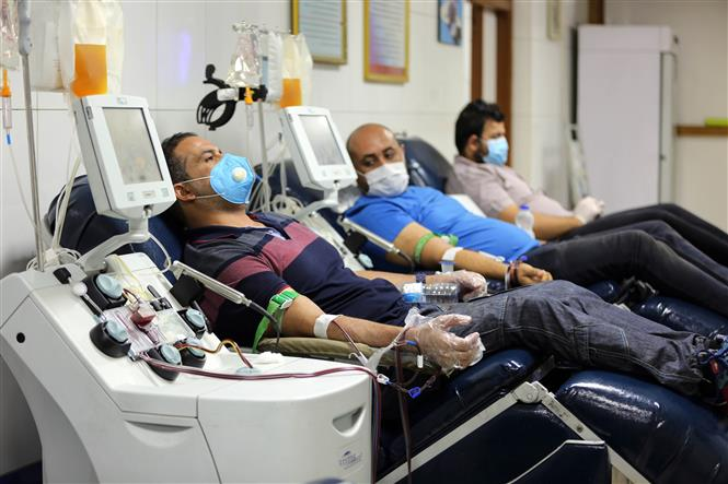 Bệnh nhân COVID-19 hiến huyết tương sau khi khỏi bệnh tại Trung tâm hiến máu quốc gia ở Baghdad, Iraq, ngày 28-6-2020. Ảnh: THX/TTXVN