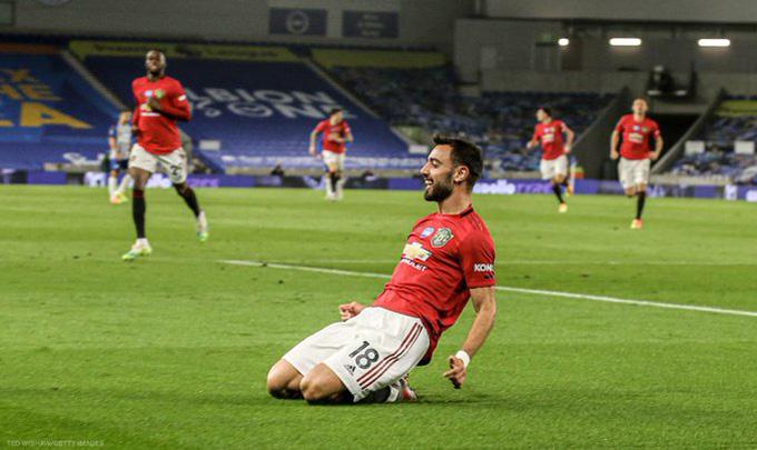 Bruno Fernandes tỏa sáng với 1 cú đúp trong chiến thắng 3-0 của Man United trên sân Brighton