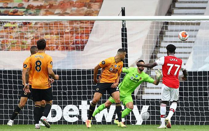 Saka mở tỷ số trận đấu cho Arsenal